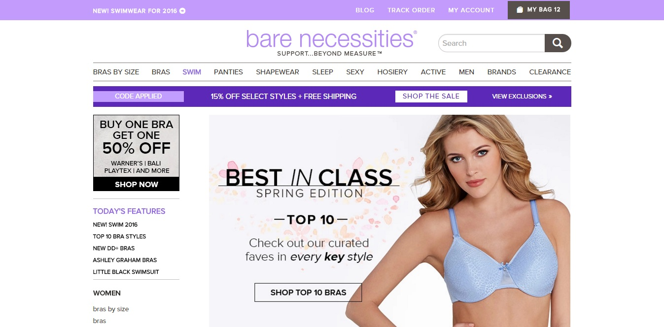 Save on underwear and swimwear for women with a Bare Necessities promo code. The right fit makes all the difference, and with Bare Necessities it's always easy to find. They carry more than styles that are both comfortable and fashionable.