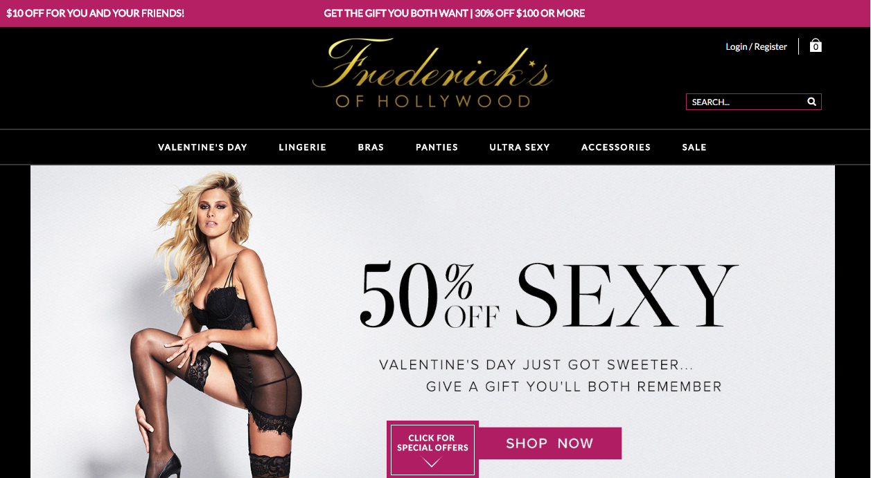 Frederick's of Hollywood Free Shipping Policy. All orders of $25 or more qualify for FREE shipping via standard methods. Express shipping costs are based on the size of the order.